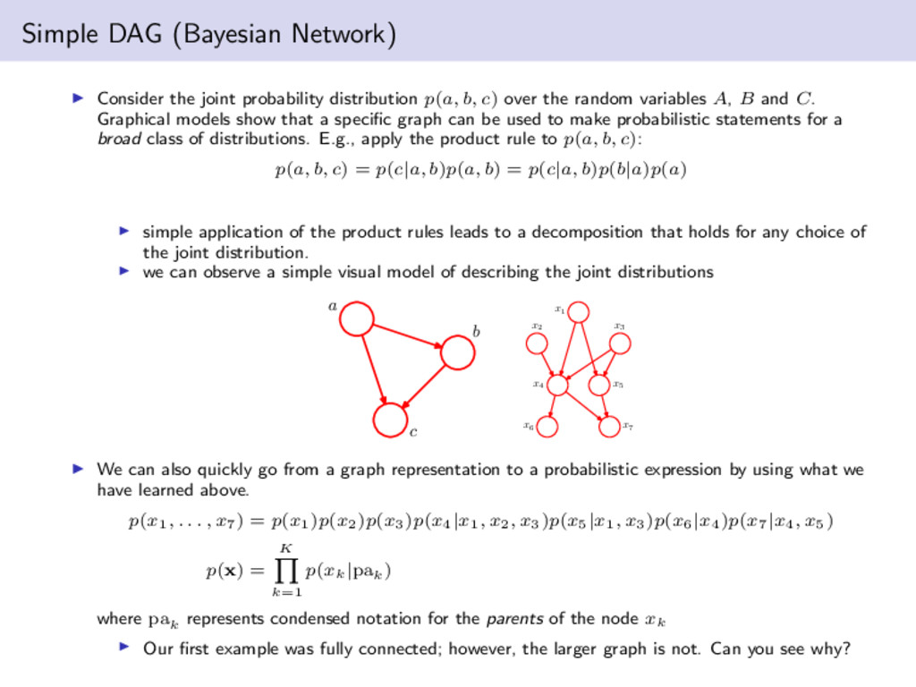 Simple DAG (Bayesian Network) Consider the join...