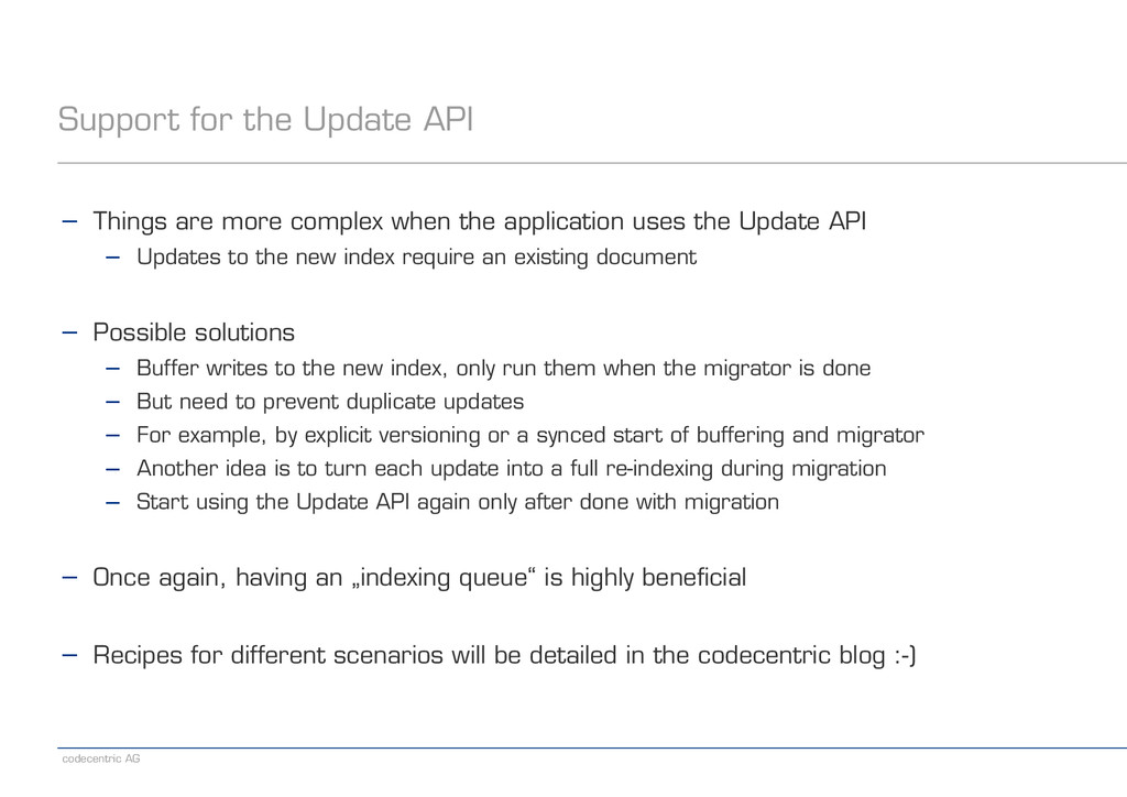 codecentric AG Support for the Update API − Thi...