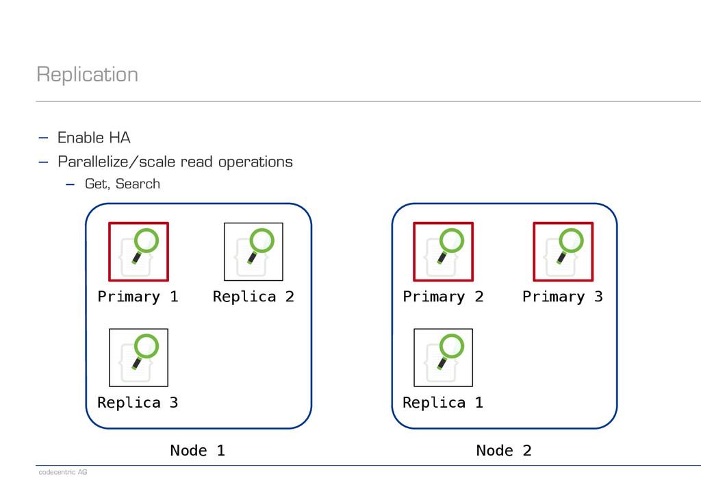 codecentric AG Replication Node 1 Node 2 Primar...