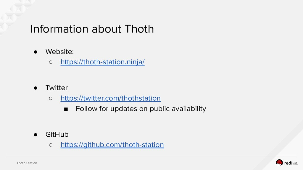 Thoth Station Information about Thoth ● Website...