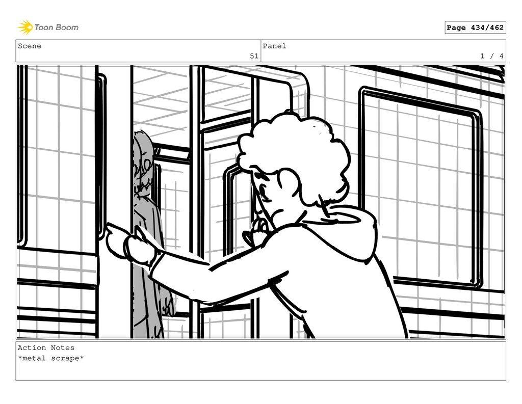 Scene 51 Panel 1 / 4 Action Notes *metal scrape...