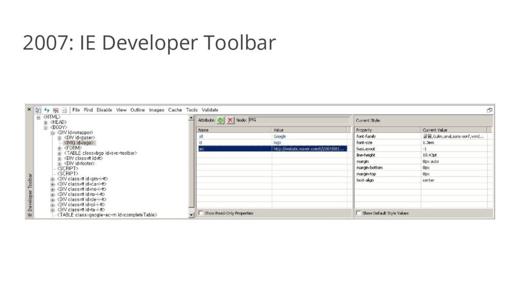 2007: IE Developer Toolbar