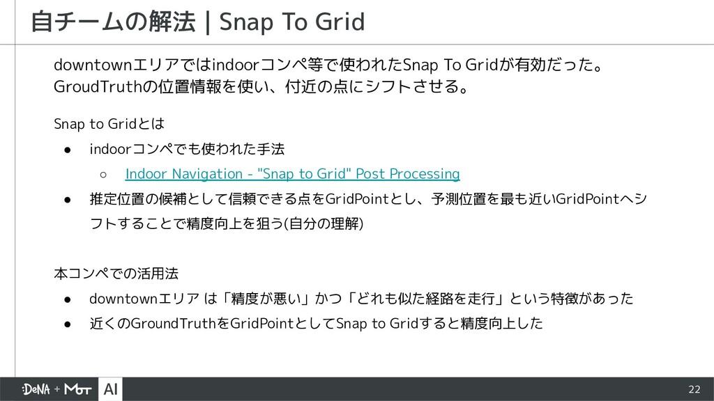 22 自チームの解法   Snap To Grid downtownエリアではindoorコン...