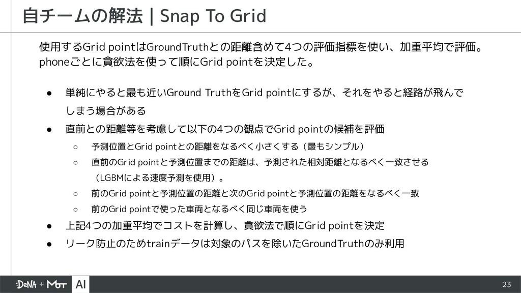 23 自チームの解法   Snap To Grid 使用するGrid pointはGround...