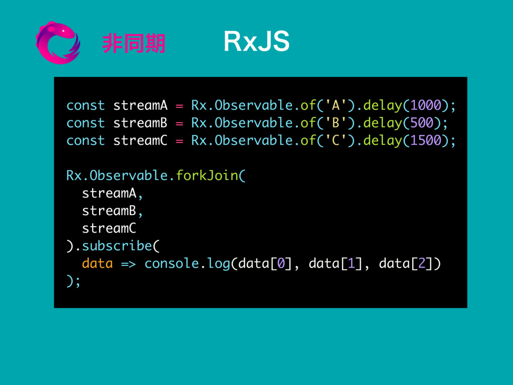 ඇಉظ const streamA = Rx.Observable.of('A').delay...