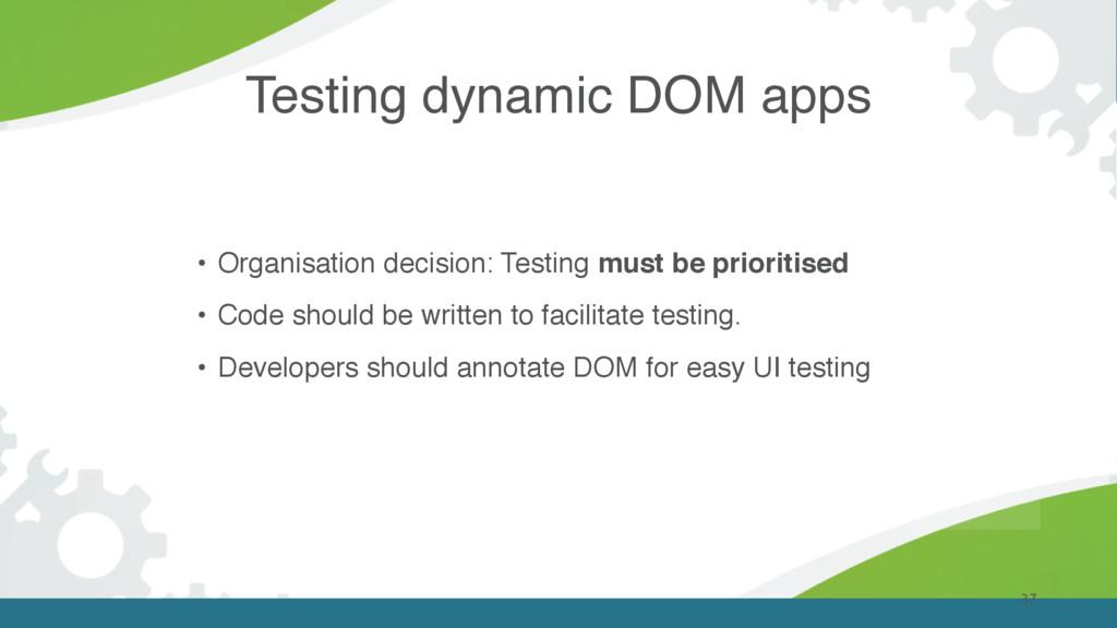 Testing dynamic DOM apps 37 • Organisation deci...