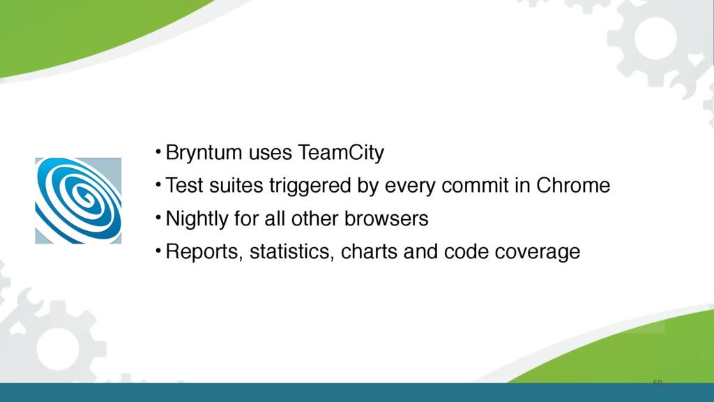 59 •Bryntum uses TeamCity •Test suites triggere...