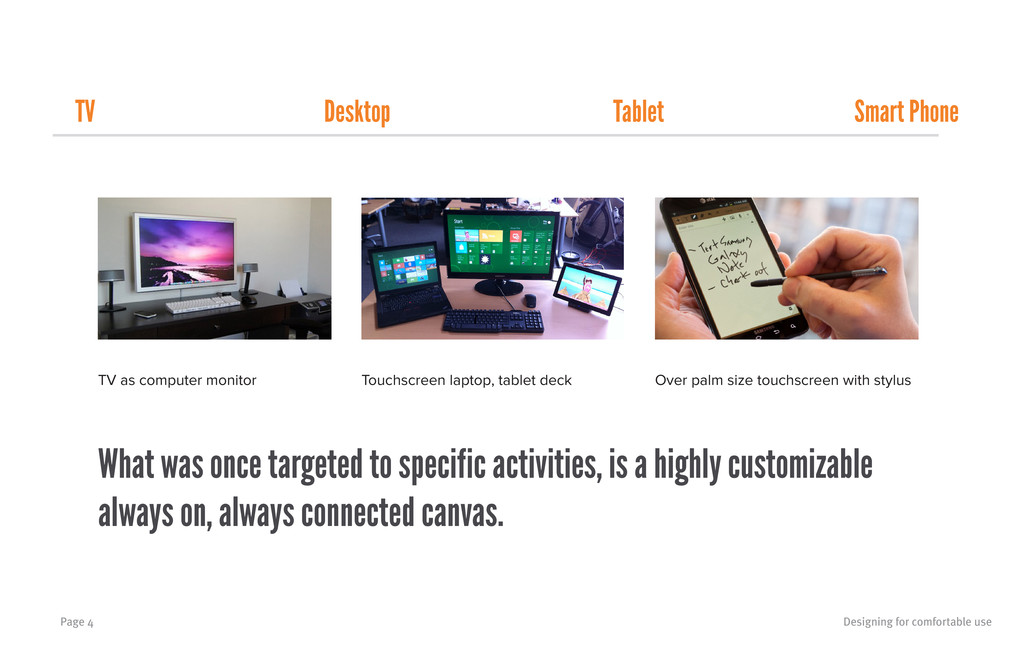 Designing for comfortable use Page 4 TV as comp...