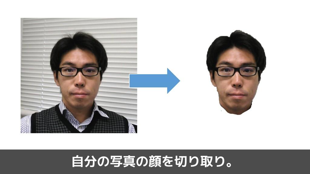 自分の写真の顔を切り取り。