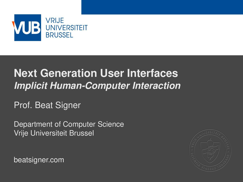 2 December 2005 Next Generation User Interfaces...