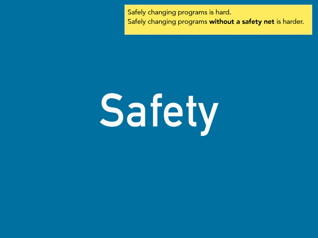 Safety Safely changing programs is hard. Safely...