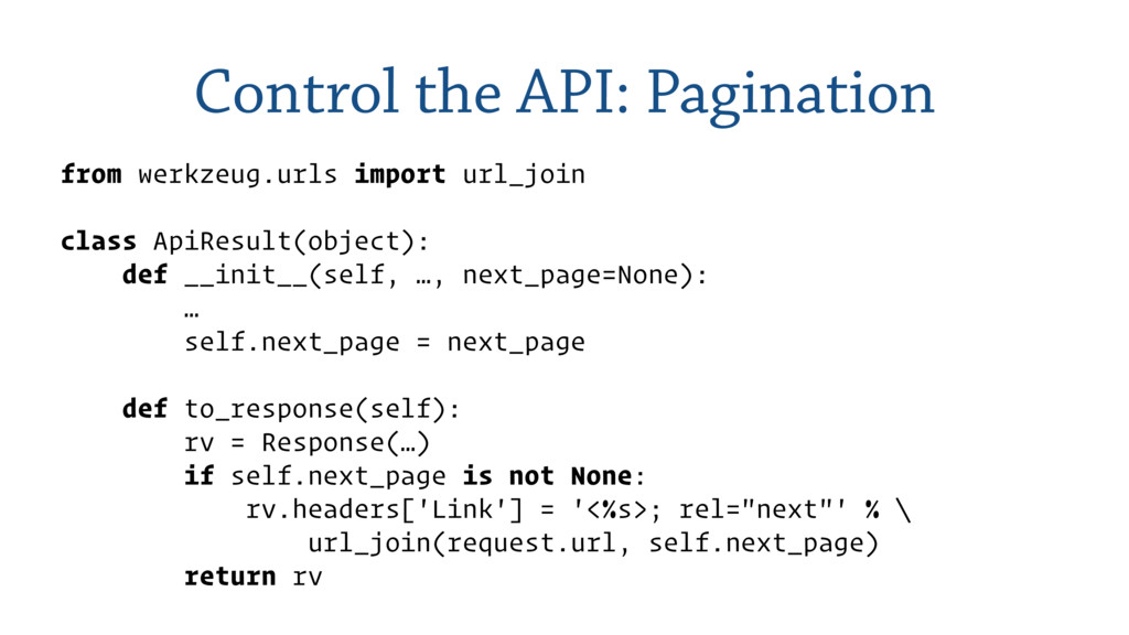 Control the API: Pagination from werkzeug.urls ...