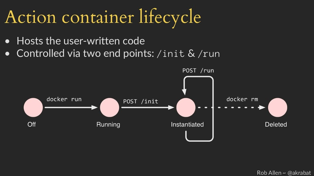 Action container lifecycle • Hosts the user-wri...