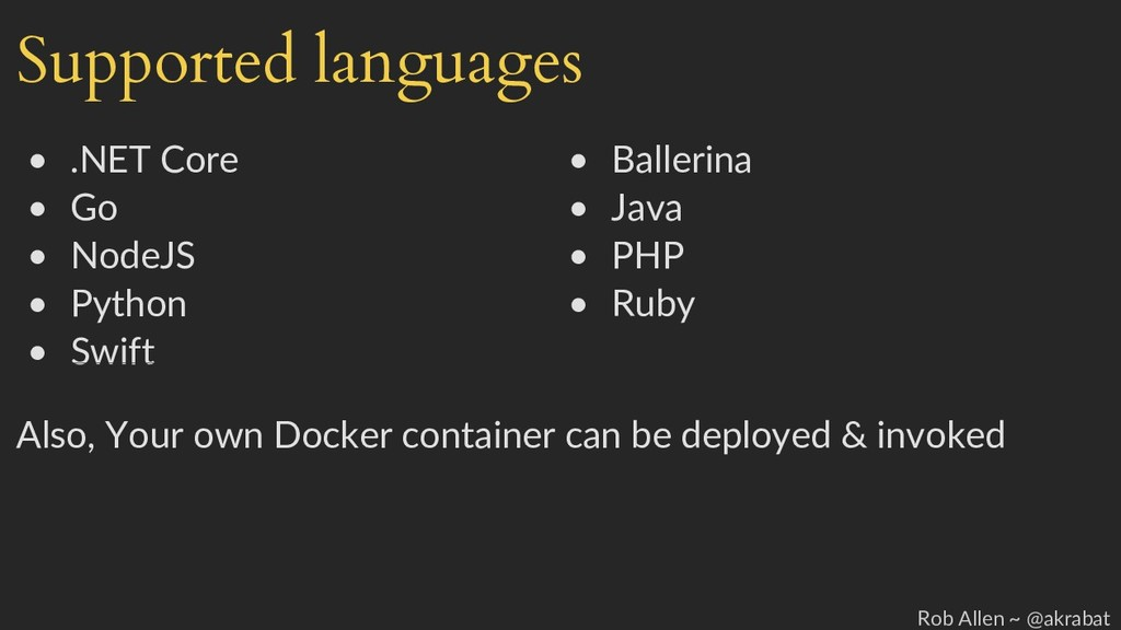 Supported languages • .NET Core • Ballerina • G...