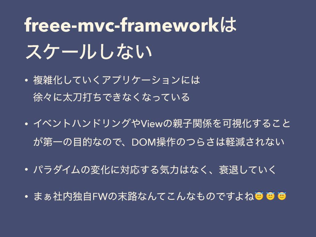 freee-mvc-framework εέʔϧ͠ͳ͍ • ෳԽ͍ͯ͘͠ΞϓϦέʔγϣϯ...