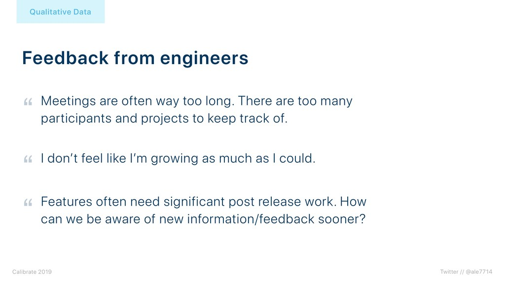Feedback from engineers Qualitative Data Twitte...