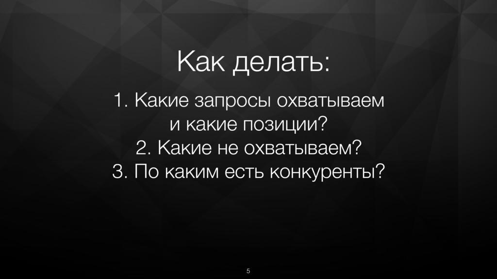5 1. Какие запросы охватываем и какие позиции? ...