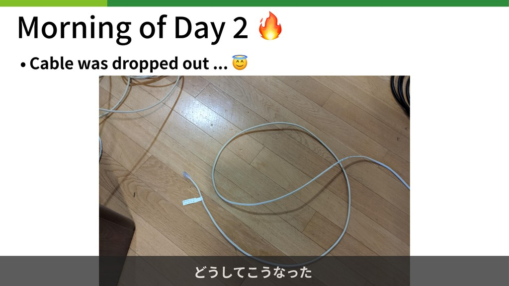 Morning of Day  • Cable was dropped out ...  どう...