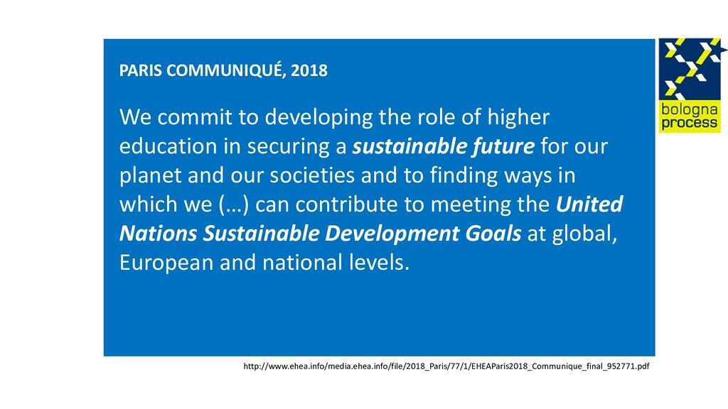 PARIS COMMUNIQUÉ, 2018 We commit to developing ...