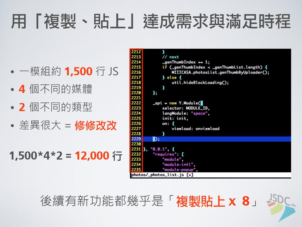 用「複製、貼上」達成需求與滿足時程 • 一模組約 1,500 行 JS • 4 個不同的媒體...