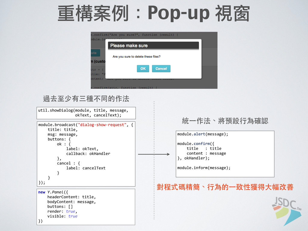 重構案例:Pop-up 視窗 util.showDialog(module, title...