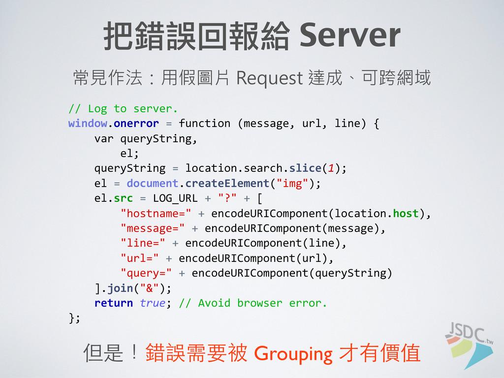 // Log to server.  ...