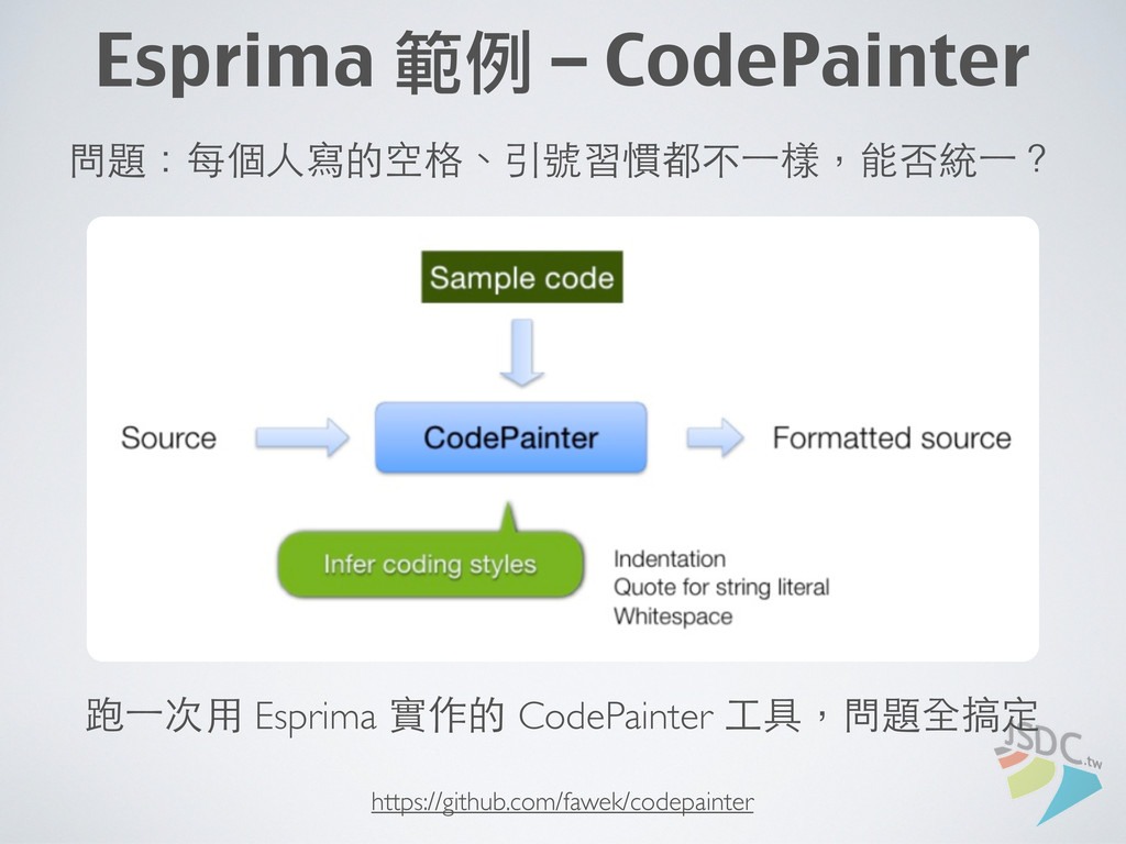 Esprima 範例 – CodePainter 問題:每個⼈人寫的空格、引號習慣都不⼀一樣,...