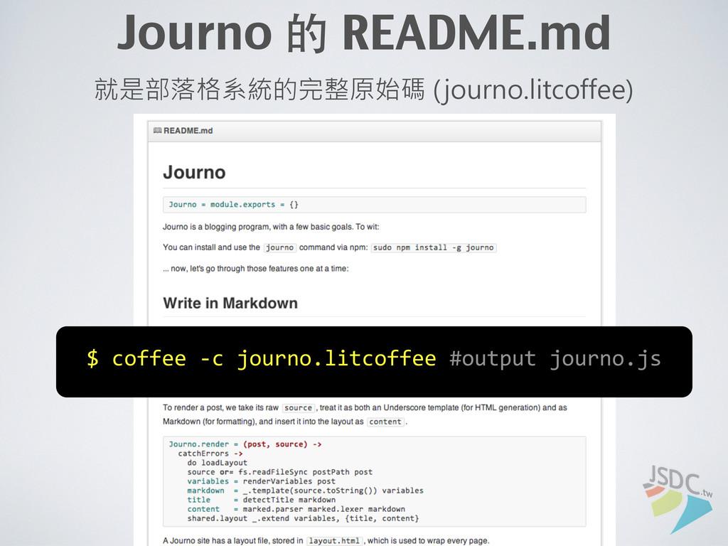 Journo 的 README.md 就是部落格系統的完整原始碼 (journo.litcof...