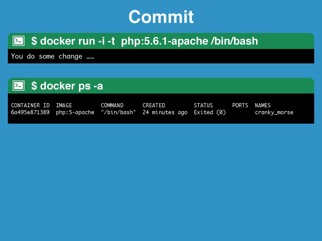 Commit $ docker run -i -t php:5.6.1-apache /bin...