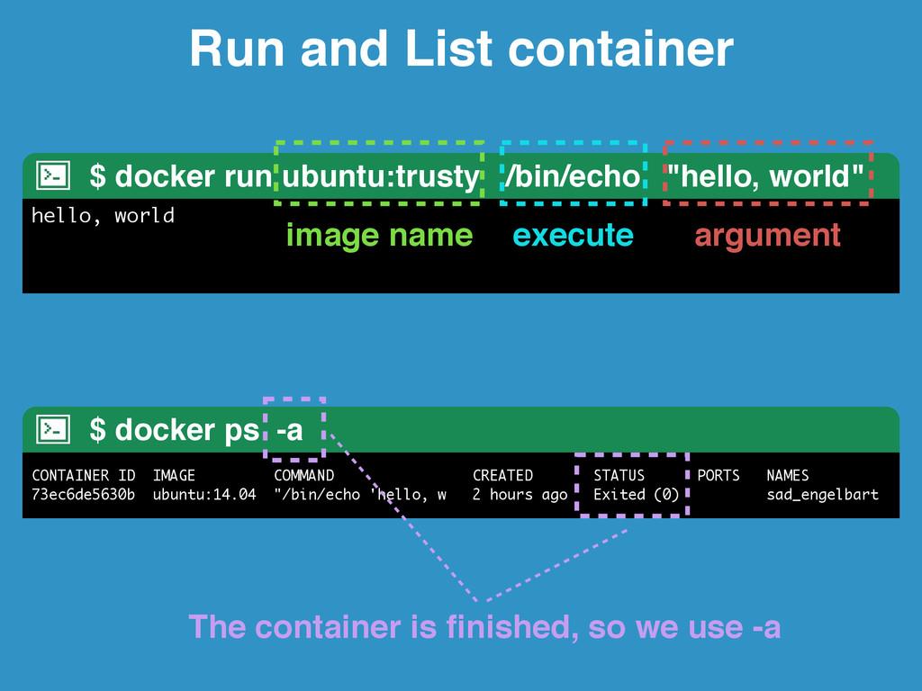 Run and List container $ docker run ubuntu:trus...