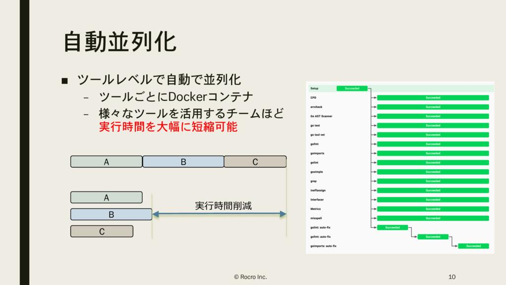 自動並列化 ■ ツールレベルで自動で並列化 – ツールごとにDockerコンテナ – 様々なツ...
