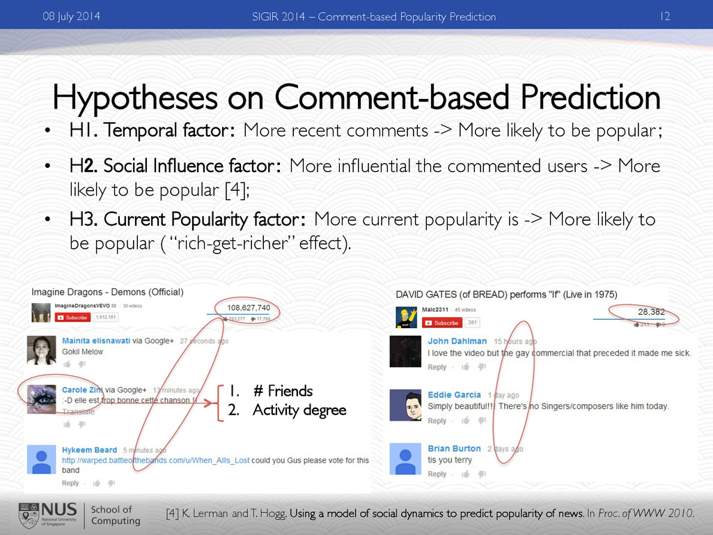 Hypotheses on Comment-based Prediction •  H1. T...