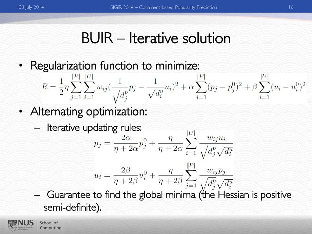 BUIR – Iterative solution	 