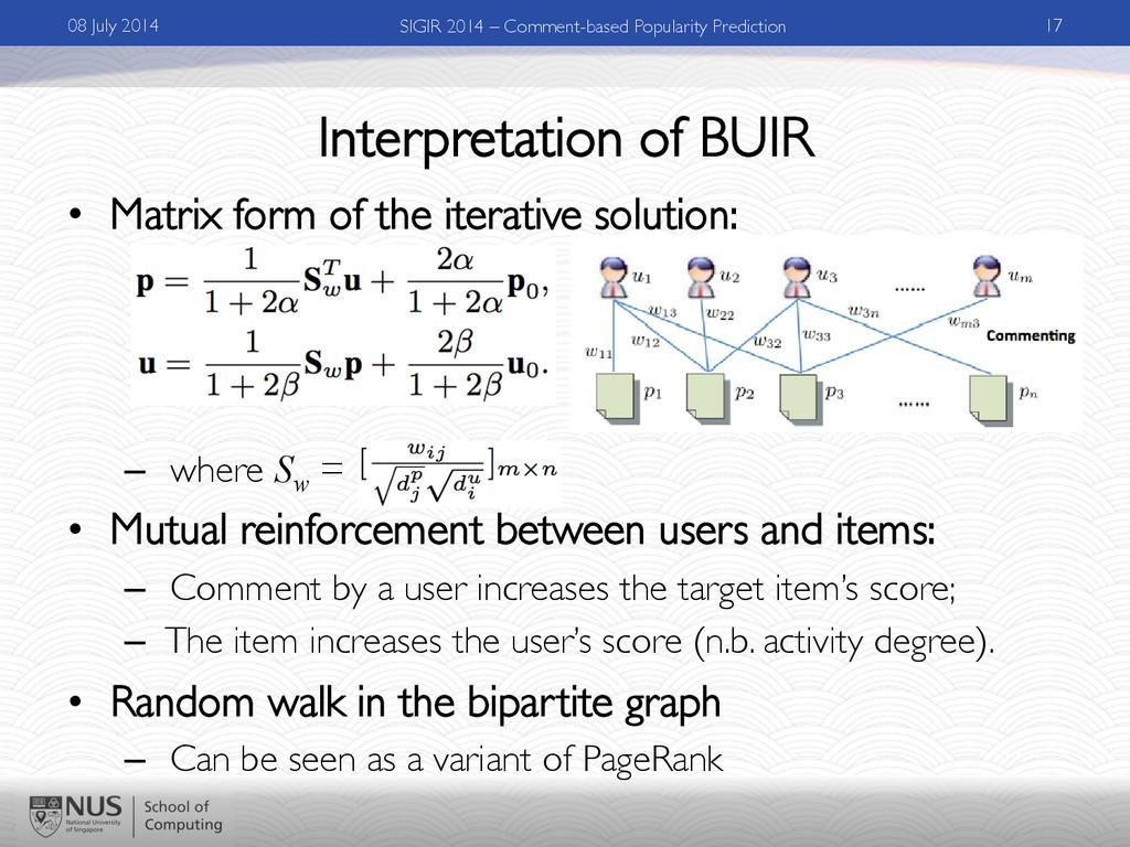 Interpretation of BUIR • Matrix form of the it...