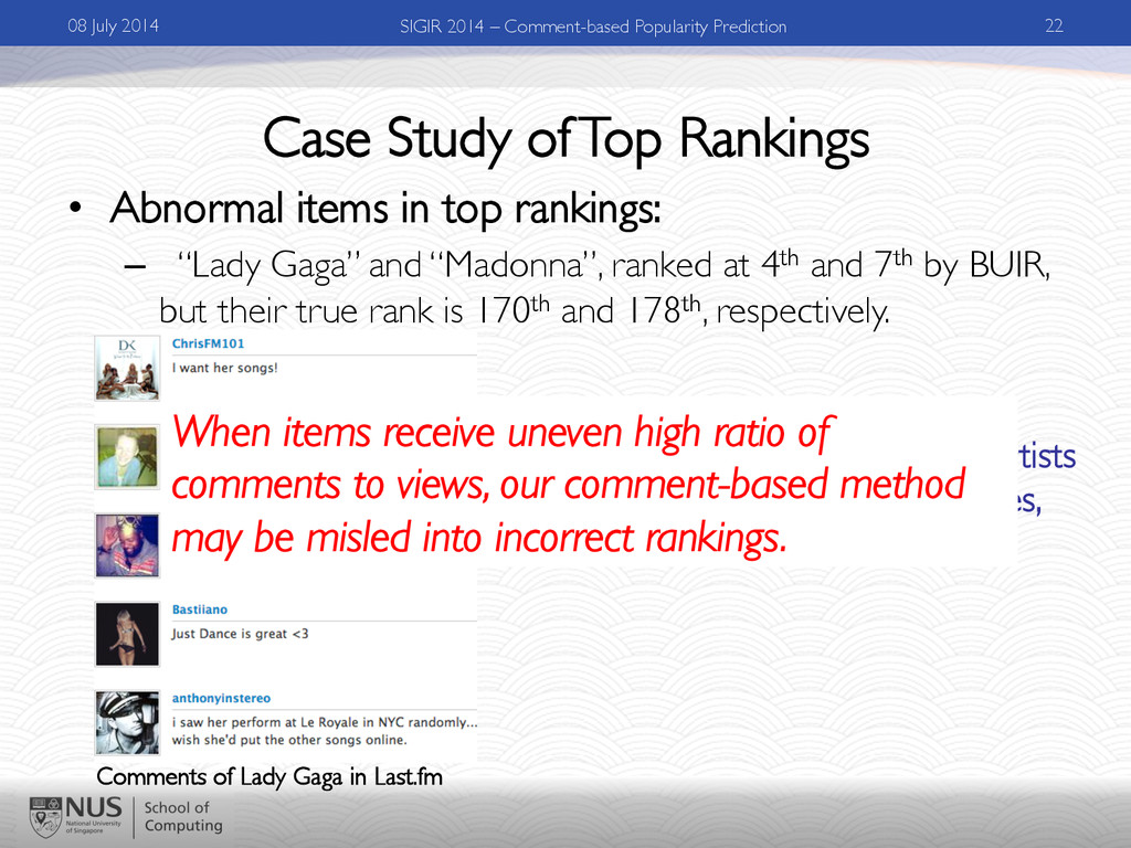 Case Study of Top Rankings •  Abnormal items in...
