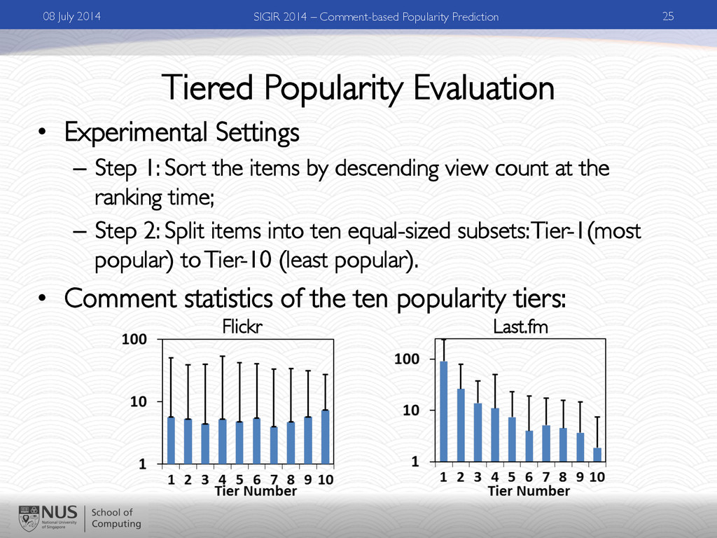 Tiered Popularity Evaluation •  Experimental Se...