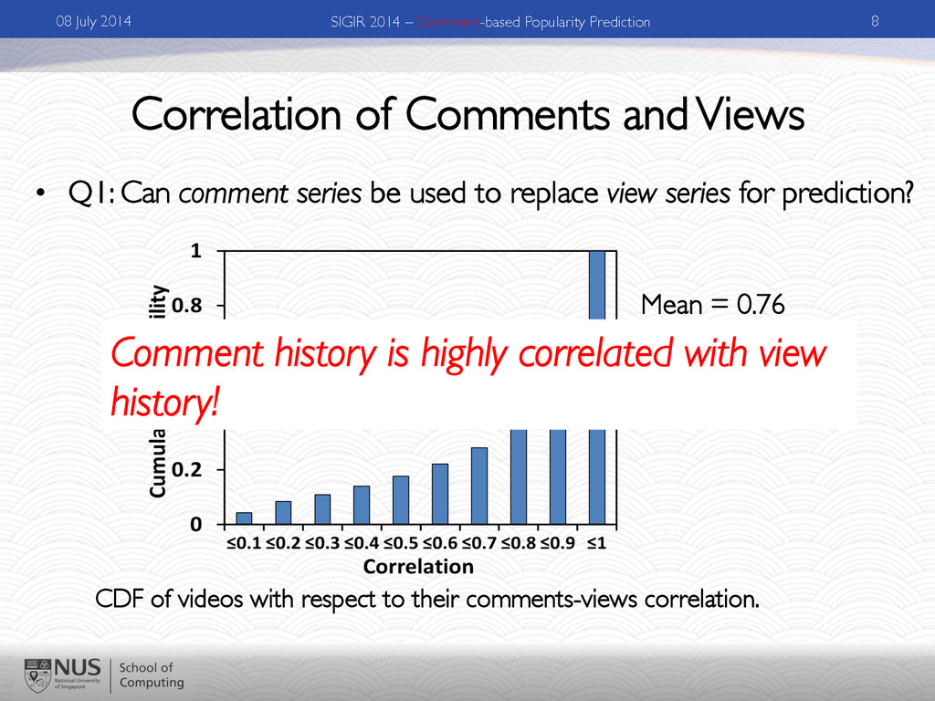 Correlation of Comments and Views •  Q1: Can co...