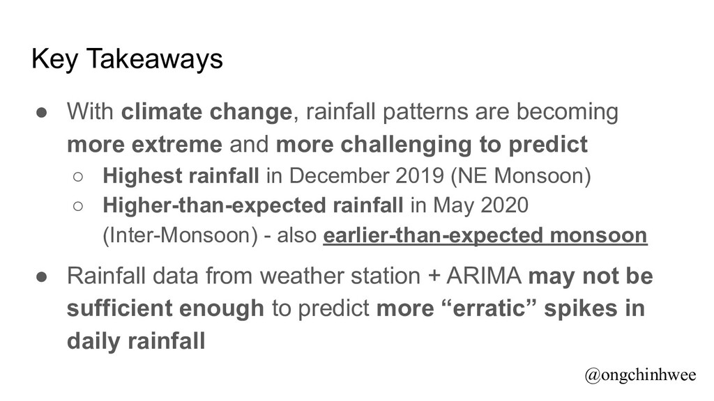 Key Takeaways ● With climate change, rainfall p...
