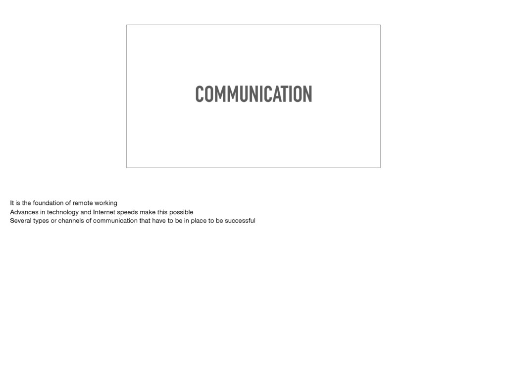 COMMUNICATION It is the foundation of remote wo...
