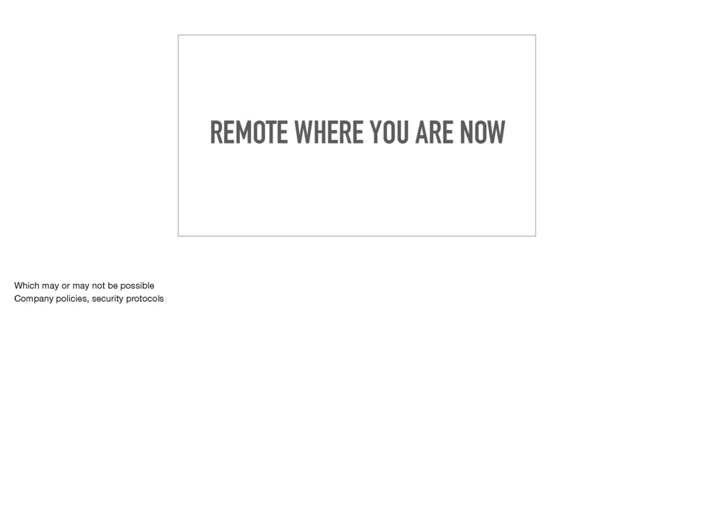 REMOTE WHERE YOU ARE NOW Which may or may not b...