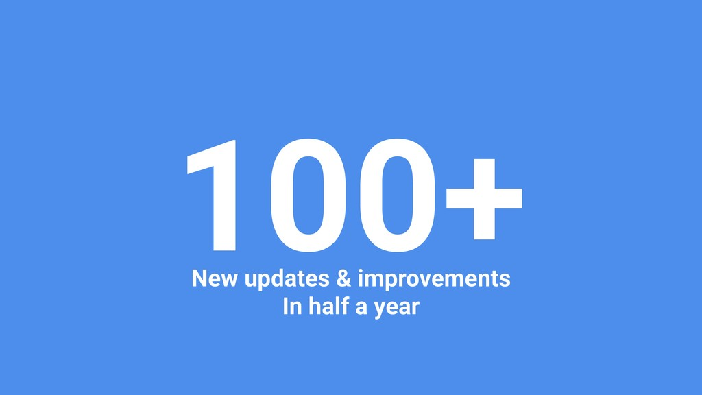 100+ New updates & improvements In half a year
