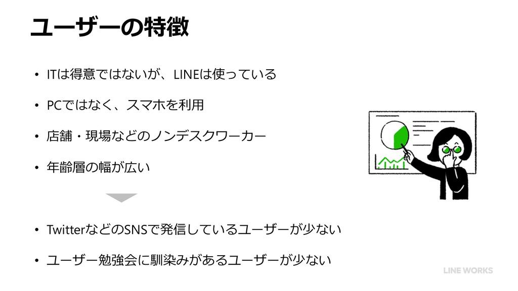 ユーザーの特徴 • ITは得意ではないが、LINEは使っている • PCではなく、スマホを利⽤...