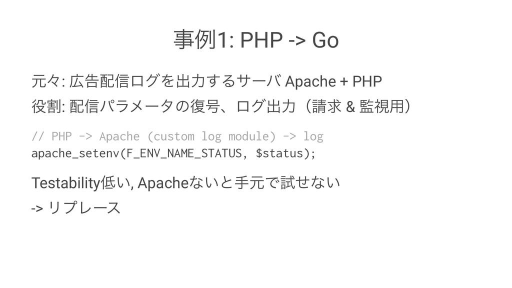 ྫ1: PHP -> Go ݩʑ: ࠂ৴ϩάΛग़ྗ͢Δαʔό Apache + PHP ...