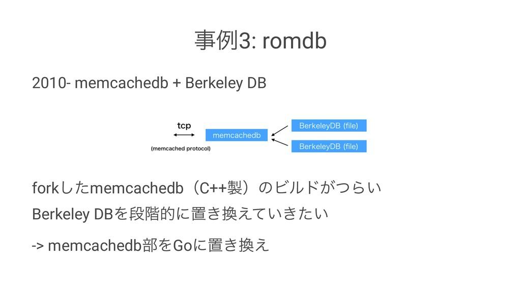 ྫ3: romdb 2010- memcachedb + Berkeley DB fork͠...