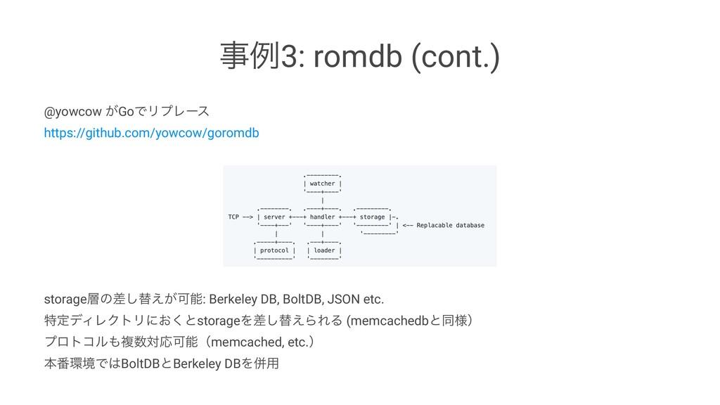 ྫ3: romdb (cont.) @yowcow ͕GoͰϦϓϨʔε https://gi...