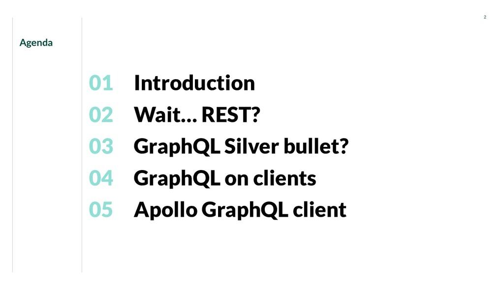 Introduction 01 Agenda 2 Wait… REST? 02 GraphQL...