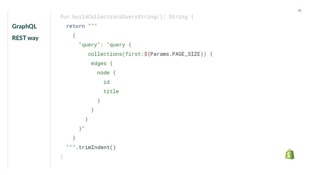 GraphQL REST way 43 fun buildCollectionsQuerySt...