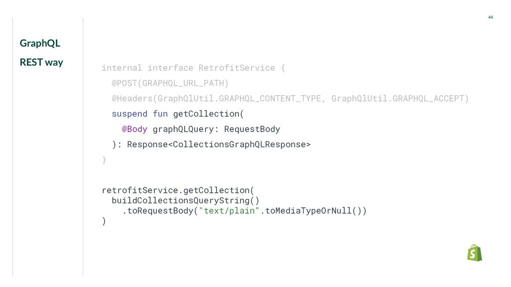 GraphQL REST way 44 internal interface Retrofit...