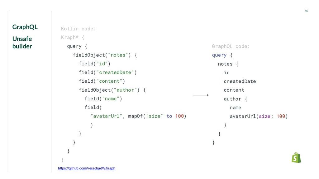GraphQL Unsafe builder 46 GraphQL code: query {...