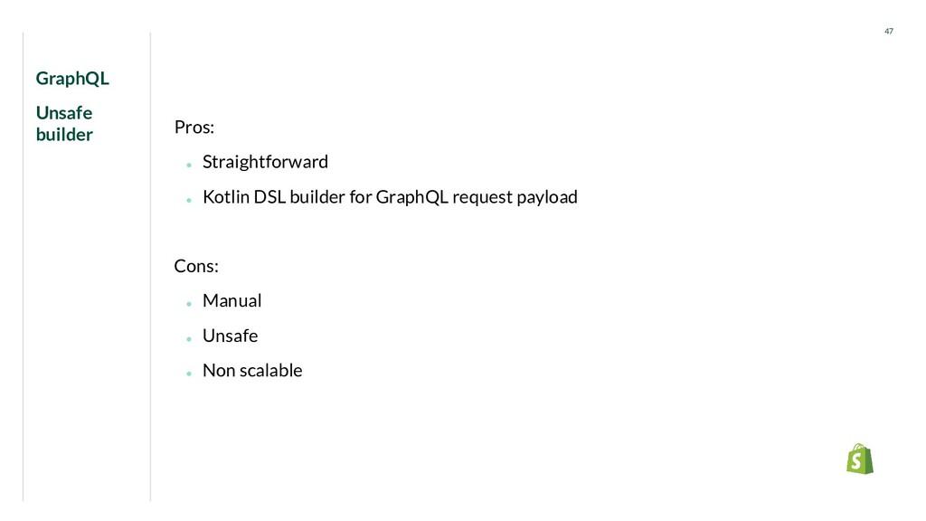 GraphQL Unsafe builder 47 Pros: ● Straightforwa...